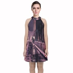 Texture Abstract Background City Velvet Halter Neckline Dress  by Sapixe