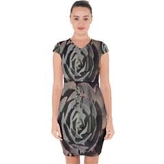 Succulent Green Pink Rosettes Capsleeve Drawstring Dress