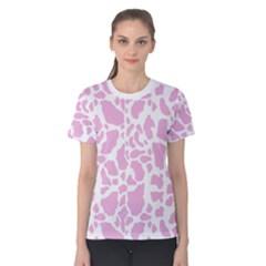 White Pink Cow Print Women s Cotton Tee