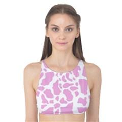 White Pink Cow Print Tank Bikini Top