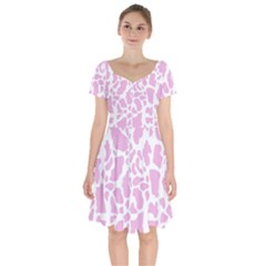 White Pink Cow Print Short Sleeve Bardot Dress