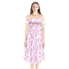 White Pink Cow Print Shoulder Tie Bardot Midi Dress