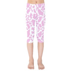 White Pink Cow Print Kids  Capri Leggings