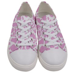 White Pink Cow Print Women s Low Top Canvas Sneakers