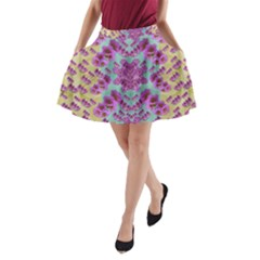 Climbing And Loving Beautiful Flowers Of Fantasy Floral A Line Pocket Skirt