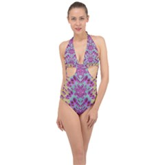 Climbing And Loving Beautiful Flowers Of Fantasy Floral Halter Front Plunge Swimsuit
