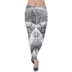 Black And White Fanned Feathers In Halftone Dots Velvet Leggings by jayaprime