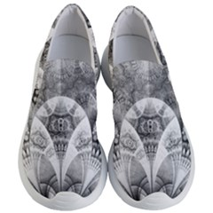 Black And White Fanned Feathers In Halftone Dots Women s Lightweight Slip Ons