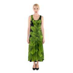 Decoration Green Black Background Sleeveless Maxi Dress