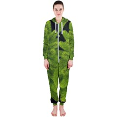 Decoration Green Black Background Hooded Jumpsuit (ladies)
