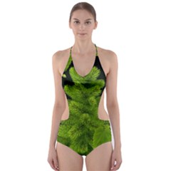 Decoration Green Black Background Cut Out One Piece Swimsuit
