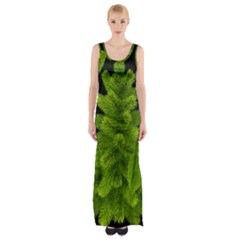 Decoration Green Black Background Maxi Thigh Split Dress