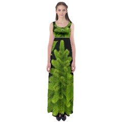 Decoration Green Black Background Empire Waist Maxi Dress