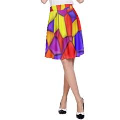 Mosaic Tiles Pattern Texture A Line Skirt