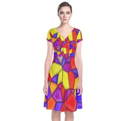 Mosaic Tiles Pattern Texture Short Sleeve Front Wrap Dress