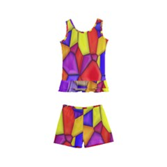 Mosaic Tiles Pattern Texture Kid s Boyleg Swimsuit