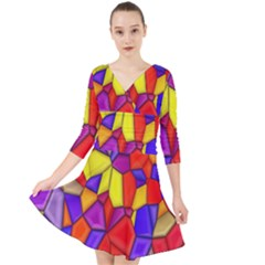 Mosaic Tiles Pattern Texture Quarter Sleeve Front Wrap Dress