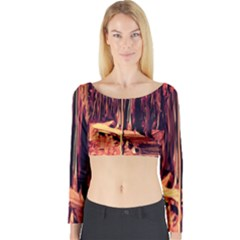 Forest Autumn Trees Trail Road Long Sleeve Crop Top