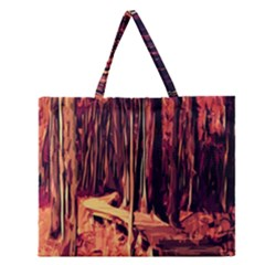 Forest Autumn Trees Trail Road Zipper Large Tote Bag