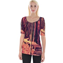 Forest Autumn Trees Trail Road Wide Neckline Tee