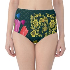 Background Reason Tulips Colors Classic High Waist Bikini Bottoms