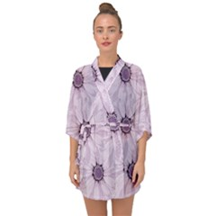 Background Desktop Flowers Lilac Half Sleeve Chiffon Kimono