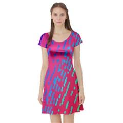 Background Desktop Mosaic Raspberry Short Sleeve Skater Dress