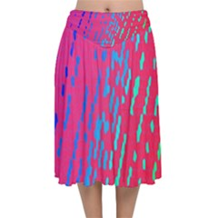 Background Desktop Mosaic Raspberry Velvet Flared Midi Skirt