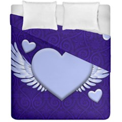 Background Texture Heart Wings Duvet Cover Double Side (california King Size)