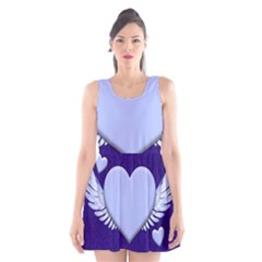 Background Texture Heart Wings Scoop Neck Skater Dress