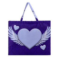 Background Texture Heart Wings Zipper Large Tote Bag