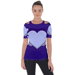 Background Texture Heart Wings Short Sleeve Top