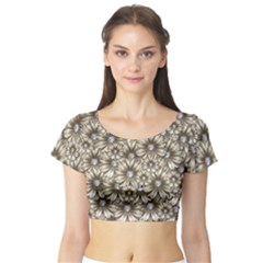 Background Flowers Short Sleeve Crop Top