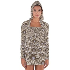 Background Flowers Long Sleeve Hooded T Shirt