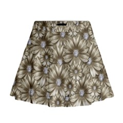 Background Flowers Mini Flare Skirt