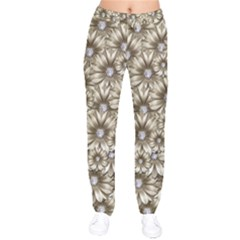 Background Flowers Velvet Drawstring Pants