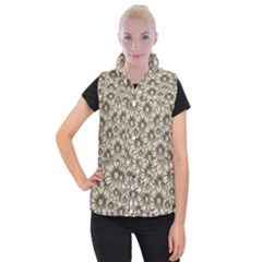 Background Flowers Women s Button Up Vest