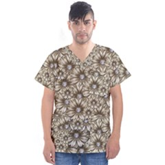Background Flowers Men s V Neck Scrub Top
