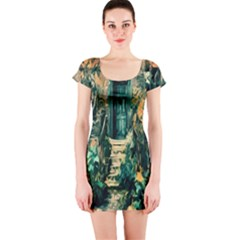 Porch Door Stairs House Short Sleeve Bodycon Dress