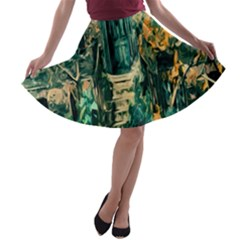 Porch Door Stairs House A Line Skater Skirt