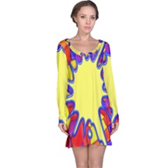 Embroidery Dab Color Spray Long Sleeve Nightdress