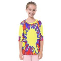 Embroidery Dab Color Spray Kids  Quarter Sleeve Raglan Tee