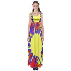 Embroidery Dab Color Spray Empire Waist Maxi Dress