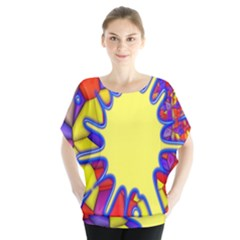Embroidery Dab Color Spray Blouse