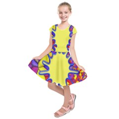 Embroidery Dab Color Spray Kids  Short Sleeve Dress