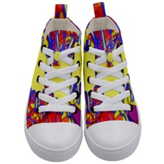 Embroidery Dab Color Spray Kid s Mid Top Canvas Sneakers