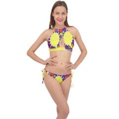 Embroidery Dab Color Spray Cross Front Halter Bikini Set