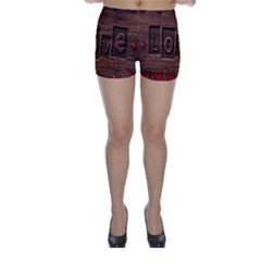 Background Romantic Love Wood Skinny Shorts