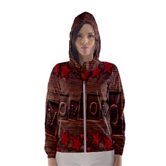 Background Romantic Love Wood Hooded Windbreaker (women)