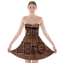 Background Romantic Love Wood Strapless Bra Top Dress